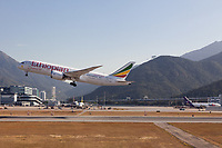 An Ethiopian Airways Boeing '787 takes of at Chek Lap Kok, International Airport, Hong Kong, China. Thursday January 11th 2018