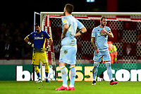 Leeds United's Liam Cooper and his team-mates react after Brentford's first goal<br /> <br /> Photographer Richard Martin-Roberts /CameraSport<br /> <br /> The EFL Sky Bet Championship - Brentford v Leeds United - Tuesday 11th February 2020 - Griffin Park - Brentford<br /> <br /> World Copyright © 2020 CameraSport. All rights reserved. 43 Linden Ave. Countesthorpe. Leicester. England. LE8 5PG - Tel: +44 (0) 116 277 4147 - admin@camerasport.com - www.camerasport.com