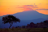 Goreme, Cappadocia, Nevsehir, Turkey. Sunrise over Mt Erciyes. A hot air balloon flight is one of the best ways to explore the fairy chimney landscape of Cappadocia and the Gorme National Park. Photo by Frits Meyst / MeystPhoto.com