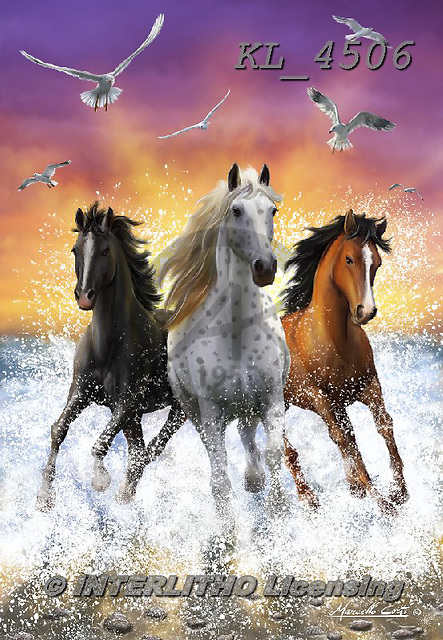 Interlitho-Marcello, REALISTIC ANIMALS, REALISTISCHE TIERE, ANIMALES REALISTICOS, paintings+++++,3 horses,ocean,beach,sunset,KL4506,#a#, EVERYDAY