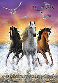 Interlitho-Marcello, REALISTIC ANIMALS, REALISTISCHE TIERE, ANIMALES REALISTICOS, paintings+++++,3 horses,ocean,beach,sunset,KL4506,#a#, EVERYDAY ,puzzles