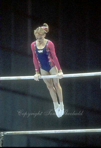 November 22, 1981; Moscow, Soviet Union; Artistic gymnast Julianne McNamara of USA performs on uneven bars at 1981 World Championships in Moscow, USSR..Copyright 1981 Tom Theobald