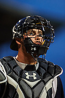Pensacola Blue Wahoos catcher Cam Maron (9) walks to the dugout during a game against the Mississippi Braves on May 28, 2015 at Trustmark Park in Pearl, Mississippi.  Mississippi  defeated Pensacola 4-2.  (Mike Janes/Four Seam Images)