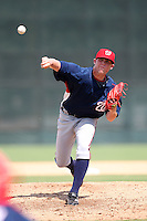October 6, 2009:  Relief Pitcher Drew Storen of the Washington Nationals organization delivers a pitch during an Instructional League game at Disney's Wide World of Sports in Orlando, FL.  Storen was drafted in the 1st round of the 2009 MLB Draft.  Photo by:  Mike Janes/Four Seam Images