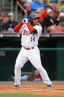 Buffalo Bisons outfielder Moises Sierra #14 during the second game of a double header against the Lehigh Valley IronPigs on June 7, 2013 at Coca-Cola Field in Buffalo, New York.  Lehigh Valley defeated Buffalo 4-0.  (Mike Janes/Four Seam Images)