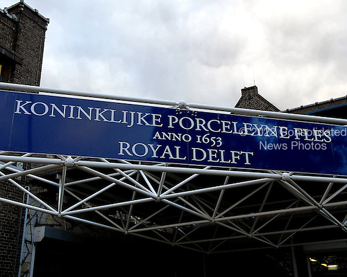 Delft, Netherlands - November 5, 2007 -- Sign over the front entrance to the Royal Delft factory in Delft, Netherlands on Monday, November 5, 2007.  Delftware, the distinctive Dutch blue and white pottery, is produced in this factory..Credit: Ron Sachs / CNP