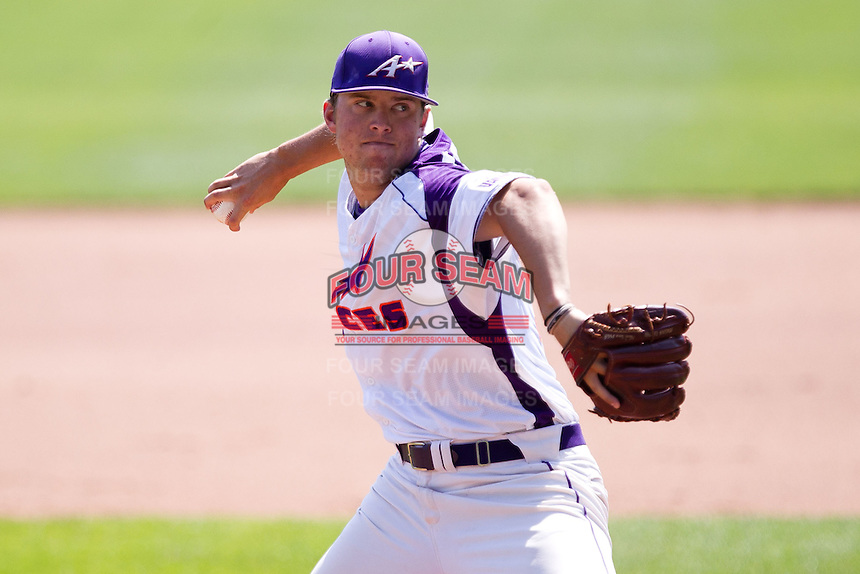 Sam Johns (19) of the Evansville Purple Aces delivers a pitch during a game against the Indiana State Sycamores in the 2012 Missouri Valley Conference Championship Tournament at Hammons Field on May 23, 2012 in Springfield, Missouri. (David Welker/Four Seam Images).