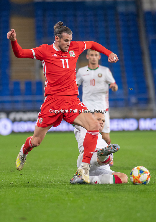 Cardiff - UK - 6th September :<br />Wales v Belarus Friendly match at Cardiff City Stadium.<br />Gareth Bale of Wales challenges Denis Polyakov of Belarus to the ball in the second half.<br />Editorial use only