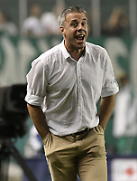 PALMIRA - COLOMBIA, 13-11-2019: Lucas Pusineri técnico del Cali gesticula durante partido entre Deportivo Cali e Independiente Santa Fe por la fecha 2, cuadrangulares semifinales, de la Liga Águila II 2019 jugado en el estadio Deportivo Cali de la ciudad de Palmira. / Lucas Pusineri coach of Cali gestures during match between Deportivo Cali and Independiente Santa Fe for the date 2, quadrangular semifinals, as part Aguila League II 2019 played at Deportivo Cali stadium in Palmira city. Photo: VizzorImage / Gabriel Aponte / Staff