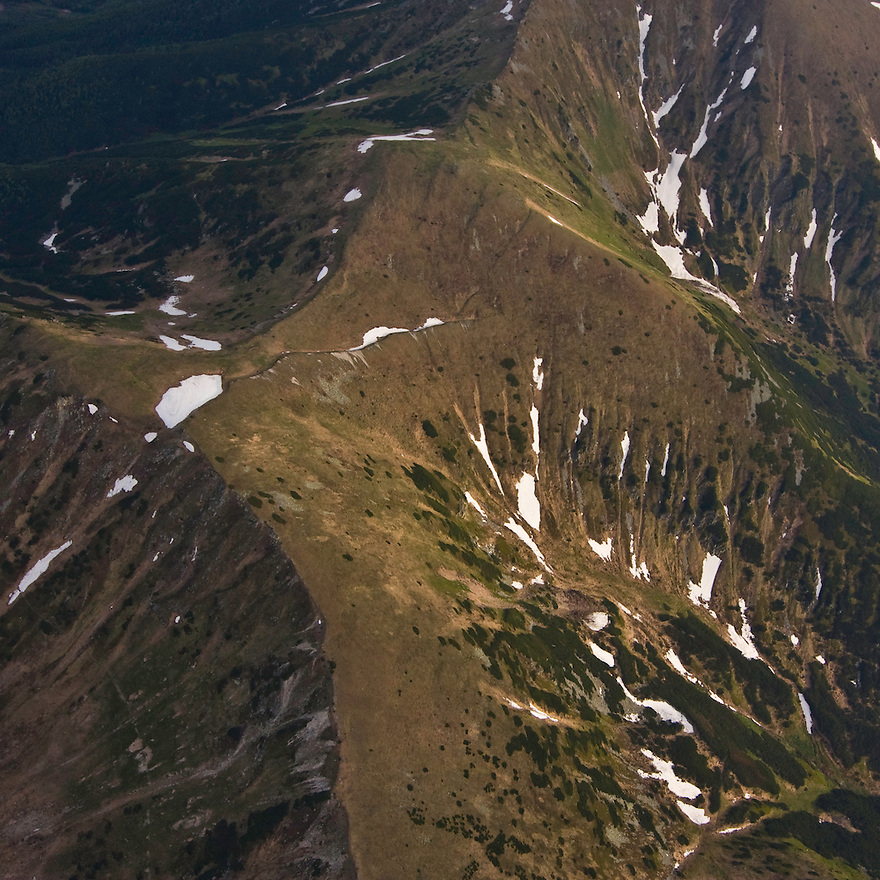 Aerial view of the Liptovske kopi of the Western Tatras. Western Tatras, Slovakia. June 2009. Mission: Ticha