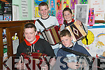 Accordions: Enjoying the Derek Hickey Master Accordion Workshop at the Fleadh by the Feale in Abbeyfeale on Saturday were Sean McKenna, Glin, Darren Roche, Castlemahon, Adrian Ennis, Abbeyfeale, and David Healy, Knocknasna..