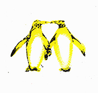 Two penguins kissing with necks forming heart shape
