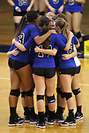 The Marymount University volleyball team competes in first round action at the 6th annual Worthington Classic at Gallaudet University in Washington, D.C., on Friday, Sept. 28, 2012. .Photo by Cathleen Allison
