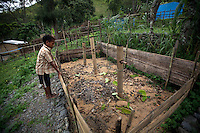 May 3rd, 2012_ LACLUBAR, TIMOR-LESTE_ A young boy inspects a composting pit in the Suco of Batara in the mountain town of Laclubar, Timor-Leste.  Photographer: Daniel J. Groshong/The Hummingfish Foundation