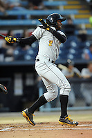 West Virginia Power right fielder Josh Bell #2 swings at  a pitch during a game suspended by rain against the Asheville Tourists at McCormick Field on April 11, 2013 in Asheville, North Carolina. The Power eventually won 11-4. (Tony Farlow/Four Seam Images).