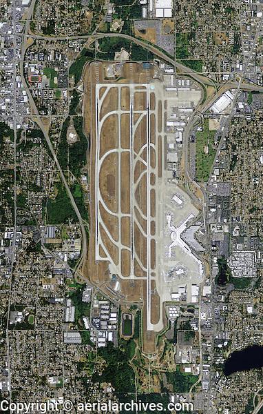 aerial photo map of Seattle Tacoma International Airport Sea-Tac SEA