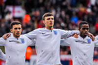 Middlesbrough's defender Dael Fry (5) for England U21's  with Leicester City's defender Ben Chilwell (3) for England U21's  and Fulham's midfielder Ryan Sessegnon (11) for England U21's during the International Euro U21 Qualification match between England U21 and Ukraine U21 at Bramall Lane, Sheffield, England on 27 March 2018. Photo by Stephen Buckley / PRiME Media Images.