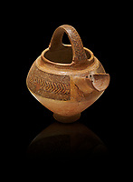 Bronze Age Anatolian decorated terra cotta tea pot with strainer - 19th to 17th century BC - Kültepe Kanesh - Museum of Anatolian Civilisations, Ankara, Turkey.  Against a black background.