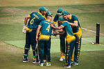 Players of South Africa celebrate  during Day 2 of Hong Kong Cricket World Sixes 2017 Cup final match between Pakistan vs South Africa at Kowloon Cricket Club on 29 October 2017, in Hong Kong, China. Photo by Vivek Prakash / Power Sport Images