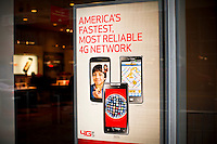 A banner is seen in a Verizon store while Verizon Management discusses Q4 2011 results in New York, United States. 23/01/2012.  Photo by Eduardo Munoz Alvarez / VIEWpress.
