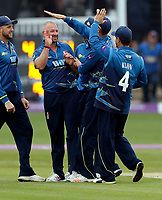Darren Stevens of Kent is mobbed after taking the wicket of James Hildreth during the Royal London One Day Cup game between Kent and Somerset at the St Lawrence Ground, Canterbury, on May 29, 2018