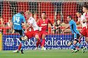 Aidan White of Leeds sees his shot blocked by Jordan Burrow of Stevenage<br />  Stevenage v Leeds United - Pre-season friendly - Lamex Stadium, Stevenage - 23rd July, 2013<br />  © Kevin Coleman 2013