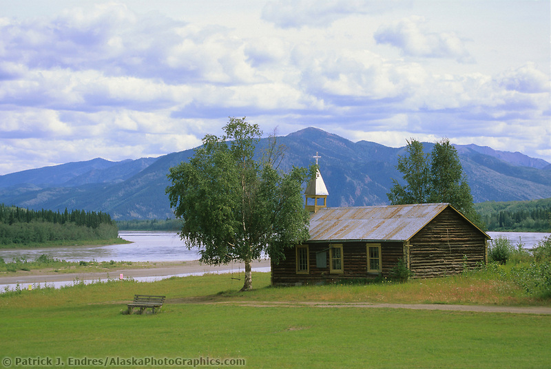 Log cabin church along the Yukon River, Native village, Eagle, Alaska
