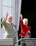 16-04-2014 Balcony 74th birthday of the Danish Queen at Marselisborg Castle in Aarhus.<br /> Queen Margrethe and Prince Henrik. <br /> <br /> <br /> <br /> Credit: PPE/face to face<br /> - No Rights for Netherlands -