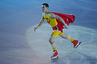 Javier Fernandez of Spain gold medalist in the Men's Figure Skating competition performs during the gala exhibition of the ISU European Figure Skating Championships in Budapest, Hungary on January 19, 2014. ATTILA VOLGYI