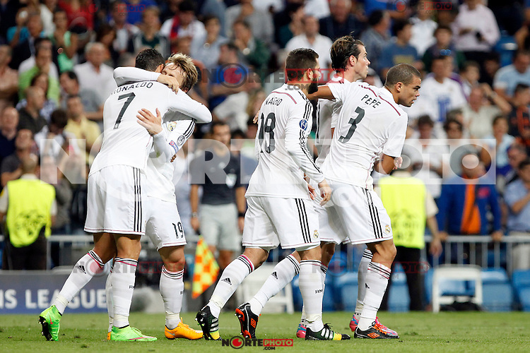 James, Cristiano Ronaldo, Sergio Ramos, Luka Modric and Marcelo of Real Madrid during the Champions League group B soccer match between Real Madrid and FC Basel 1893 at Santiago Bernabeu Stadium in Madrid, Spain. September 16, 2014. (ALTERPHOTOS/Caro Marin) /NortePhoto.com
