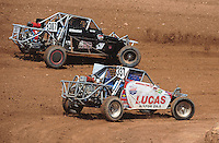 Apr 17, 2011; Surprise, AZ USA; LOORRS driver Toby Bost (307) and Greg Crew (337) during round 4 at Speedworld Off Road Park. Mandatory Credit: Mark J. Rebilas-
