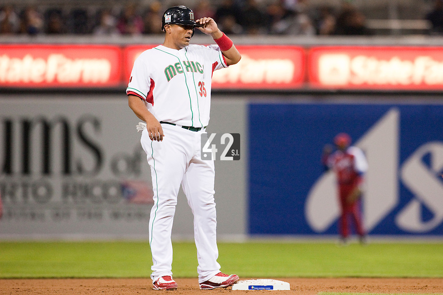 16 March 2009: #35 Miguel Ojeda of Mexico is seen on base during the 2009 World Baseball Classic Pool 1 game 3 at Petco Park in San Diego, California, USA. Cuba wins 7-4 over Mexico.