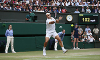 Roger Federer (SUI) during his match against Novak Djokovic (SRB) in their Gentleman's Singles Final match<br /> <br /> <br /> Photographer Rob Newell/CameraSport<br /> <br /> Wimbledon Lawn Tennis Championships - Day 13 - Sunday 14th July 2019 -  All England Lawn Tennis and Croquet Club - Wimbledon - London - England<br /> <br /> World Copyright © 2019 CameraSport. All rights reserved. 43 Linden Ave. Countesthorpe. Leicester. England. LE8 5PG - Tel: +44 (0) 116 277 4147 - admin@camerasport.com - www.camerasport.com