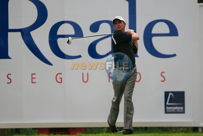 Peter Lawrie (IRL) in action on the 18th tee during Day 3 of the Open de Espana at Real Club De Golf El Prat, Terrasa, Barcelona, 7th May 2011. (Photo Eoin Clarke/Golffile 2011)