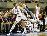 USA's Kevin Love (l) and Argentina's Juan Guitierrez during friendly match.July 22,2012. (ALTERPHOTOS/Acero)