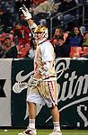 April 27, 2012:  #16 Denver's, Mark Matthews (22), celebrates a goal against #4 Duke during the Whitman's Sampler Mile High Classic, Sports Authority Field at Mile High, Denver, CO.  #16 Denver defeats #4 Duke 15-9.
