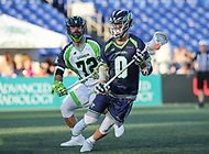 Annapolis, MD - July 7, 2018: Chesapeake Bayhawks John Maloney (0) looks to pass the ball during the game between New York Lizards and Chesapeake Bayhawks at Navy-Marine Corps Memorial Stadium in Annapolis, MD.   (Photo by Elliott Brown/Media Images International)