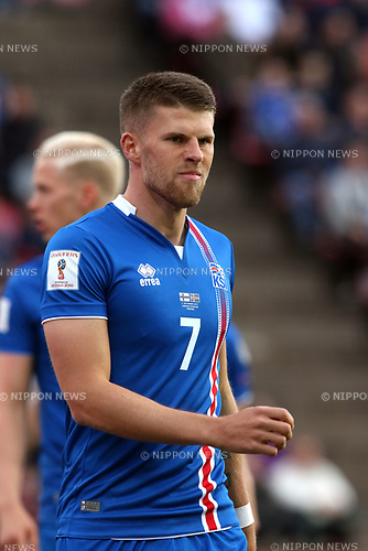 2.9.2017, Ratina Stadion, Tampere, Finland.<br /> FIFA World Cup 2018 Qualifying match, Finland v Iceland.<br /> Johann Gudmundsson - Iceland
