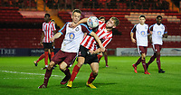 Lincoln City U18's Jon Smith vies for possession with South Shieldsy U18's Will McCamley<br /> <br /> Photographer Chris Vaughan/CameraSport<br /> <br /> The FA Youth Cup Second Round - Lincoln City U18 v South Shields U18 - Tuesday 13th November 2018 - Sincil Bank - Lincoln<br />  <br /> World Copyright © 2018 CameraSport. All rights reserved. 43 Linden Ave. Countesthorpe. Leicester. England. LE8 5PG - Tel: +44 (0) 116 277 4147 - admin@camerasport.com - www.camerasport.com