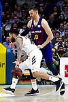 Real Madrid's Jeffery Taylor and Barcelona's Victor Claver during Liga Endesa match between Real Madrid and FC Barcelona Lassa at Wizink Center in Madrid, Spain. March 24, 2019.  (ALTERPHOTOS/Alconada)