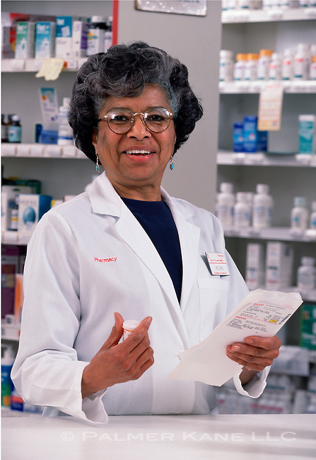 Portrait of Pharmacist in her hometown store