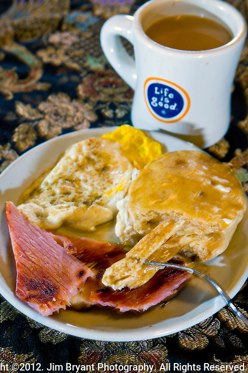 Kodiak Cakes Flapjacks, ham and eggs.  ©2012. Jim Bryant Photo. All Rights Reserved.