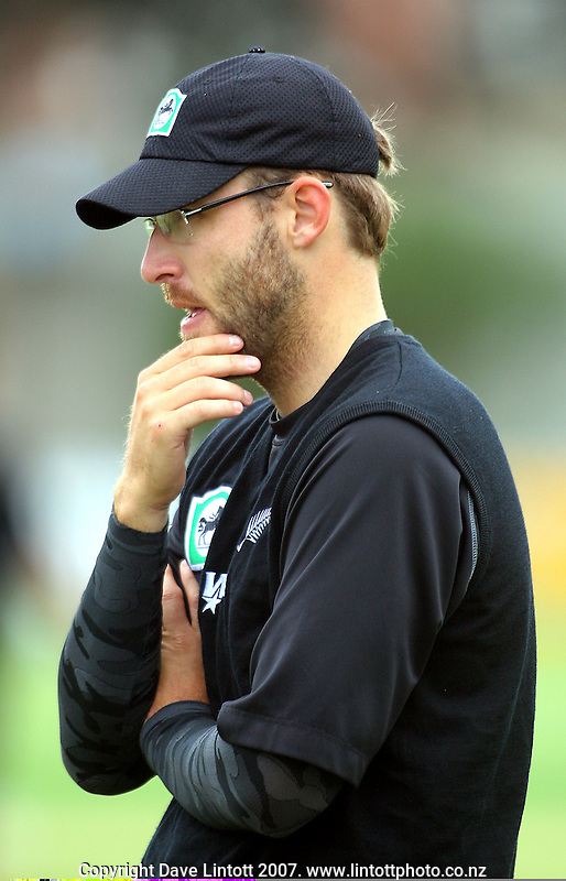 Daniel Vettori watches his team practice during the Black Caps nets practice in the build-up for the National Bank Test Match Series second test between New Zealand Black Caps and England at the Allied Prime Basin Reserve,Wellington, New Zealand on Tuesday, 11 March 2008. Photo: Dave Lintott / lintottphoto.co.nz