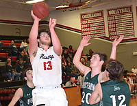 RICK PECK/SPECIAL TO MCDONALD COUNTY PRESS<br /> McDonald County's Cooper Reece scores two of his game-high 26 points while being surrounded by a trio of Mount Vernon defenders during the Mountaineers 80-45 win on Feb. 14 at MCHS.
