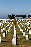 USA, California, San Diego, rows of tombstones at the Fort Rosecrans Memorial Cemetery
