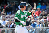 Dayton Dragons outfielder Jesse Winker #23 after hitting a home run during a game against the Bowling Green Hot Rods on April 21, 2013 at Fifth Third Field in Dayton, Ohio.  Bowling Green defeated Dayton 7-5.  (Mike Janes/Four Seam Images)