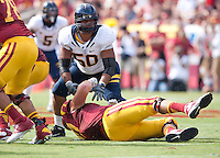 September 22, 2012: California's Aaron Tipoti in action during a game against USC at the Los Angeles Memorial Coliseum, Los Angeles, Ca  USC defeated California 27- 9