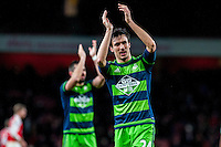 Jack Cork of Swansea City   celebrates after the final of the the Barclays Premier League match between Arsenal and Swansea City at the Emirates Stadium, London, UK, Wednesday 02 March 2016