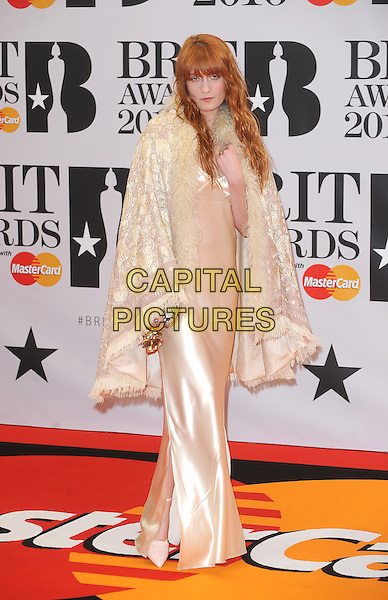LONDON, ENGLAND - FEBRUARY 24: Florence Welch attends the Brit Awards 2016 at The O2 Arena in London on February 24, 2016 in London, England.<br /> CAP/BEL<br /> &copy;Tom Belcher/Capital Pictures