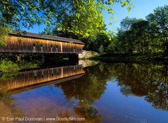 Hemlock Covered Bridge. Located in  Fryeburg, Maine, USA...Crosses the Saco  River. Built in 1857.
